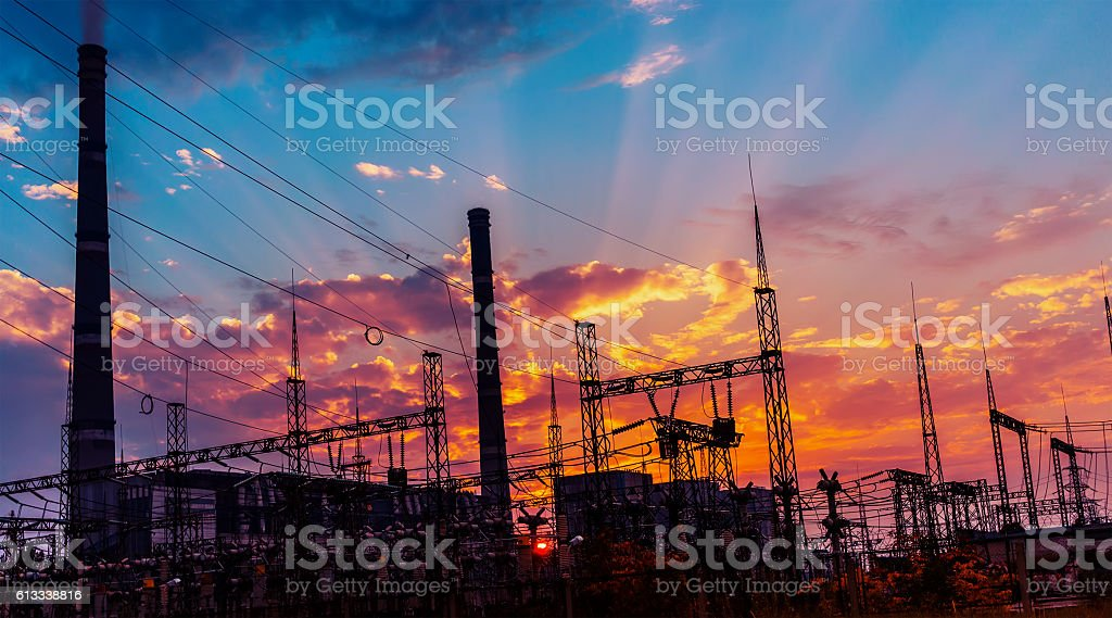 silhouette of coal electric power plant on the background stock photo