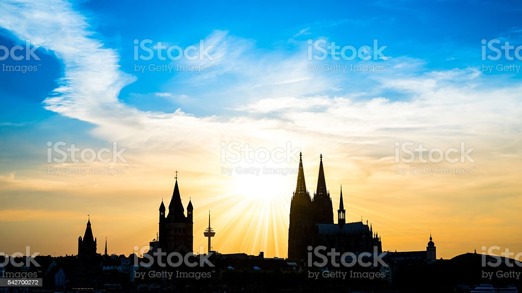 Silhouette of Cologne Cathedral stock photo