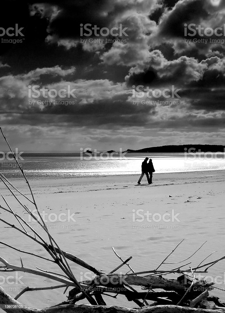 silhouette of couple on beach royalty-free stock photo