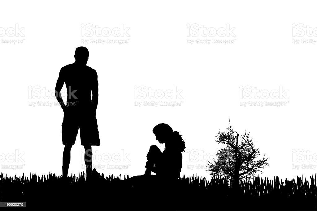 Silhouette of couple. stock photo