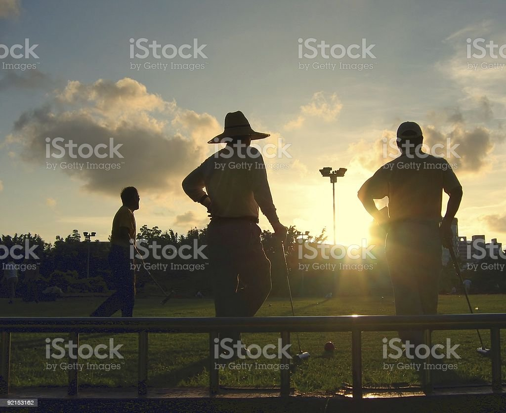 Silhouette of Croquet Players stock photo