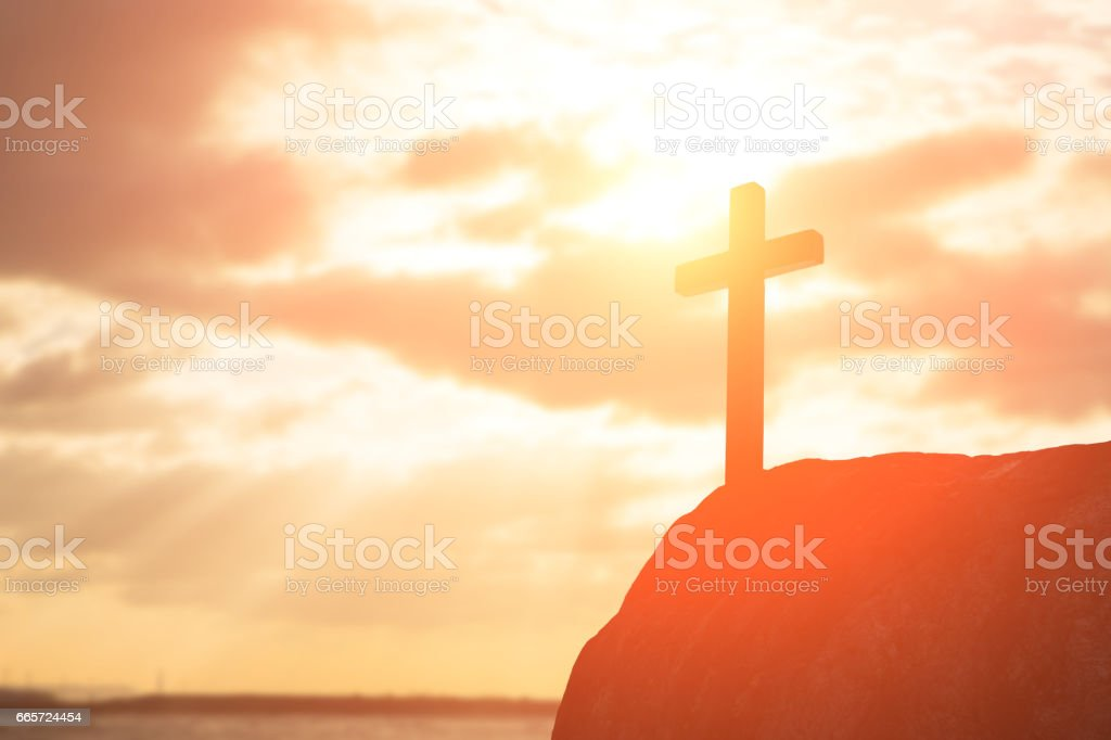 silhouette of cross stock photo