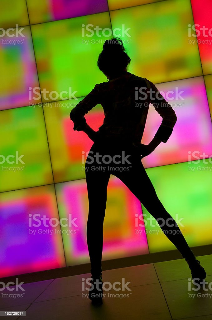silhouette of dancing woman royalty-free stock photo