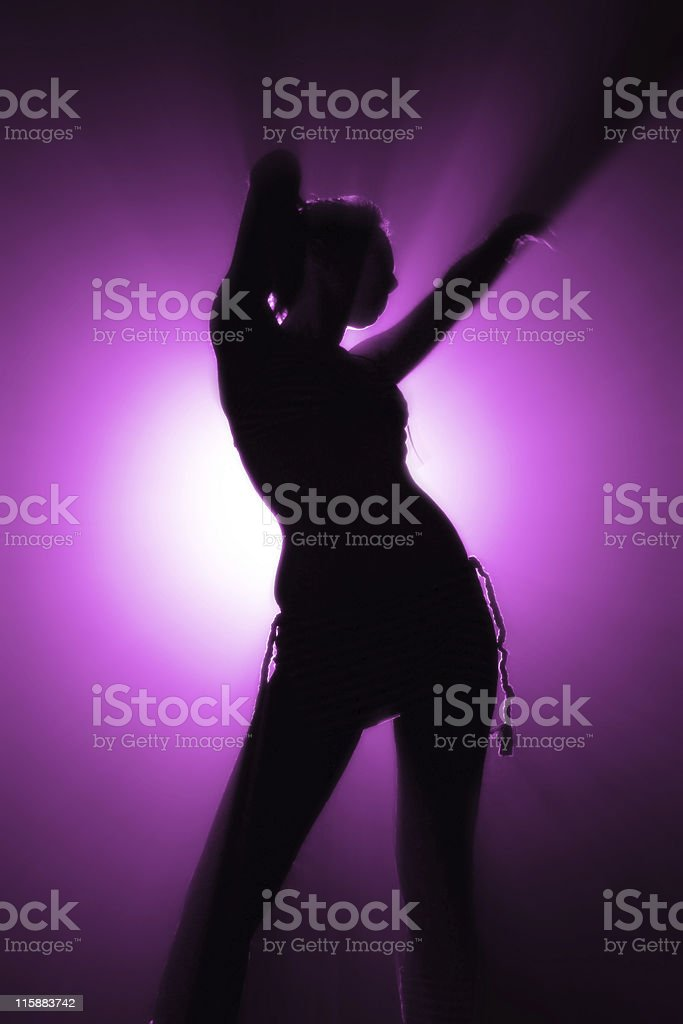 silhouette of disco dancer royalty-free stock photo
