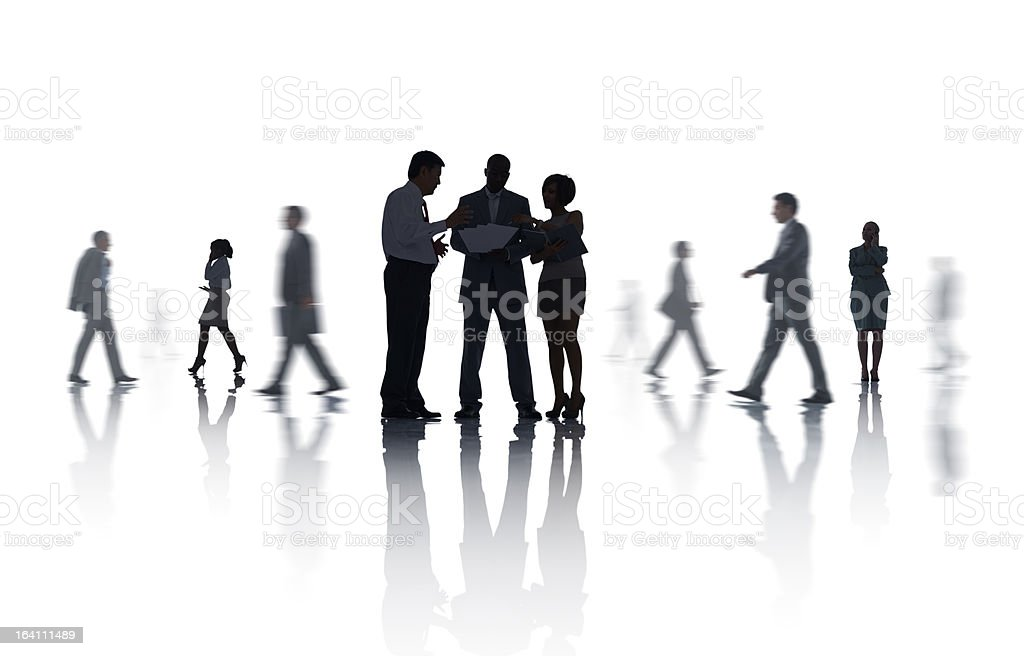 Silhouette of diverse business people working royalty-free stock photo