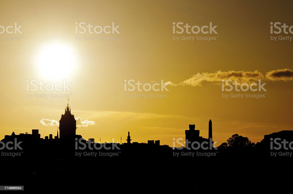 Silhouette of Edinburgh Cityscape at Sunset, Scotland royalty-free stock photo