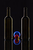 Silhouette of elegant wine bottles and Christmas decoration