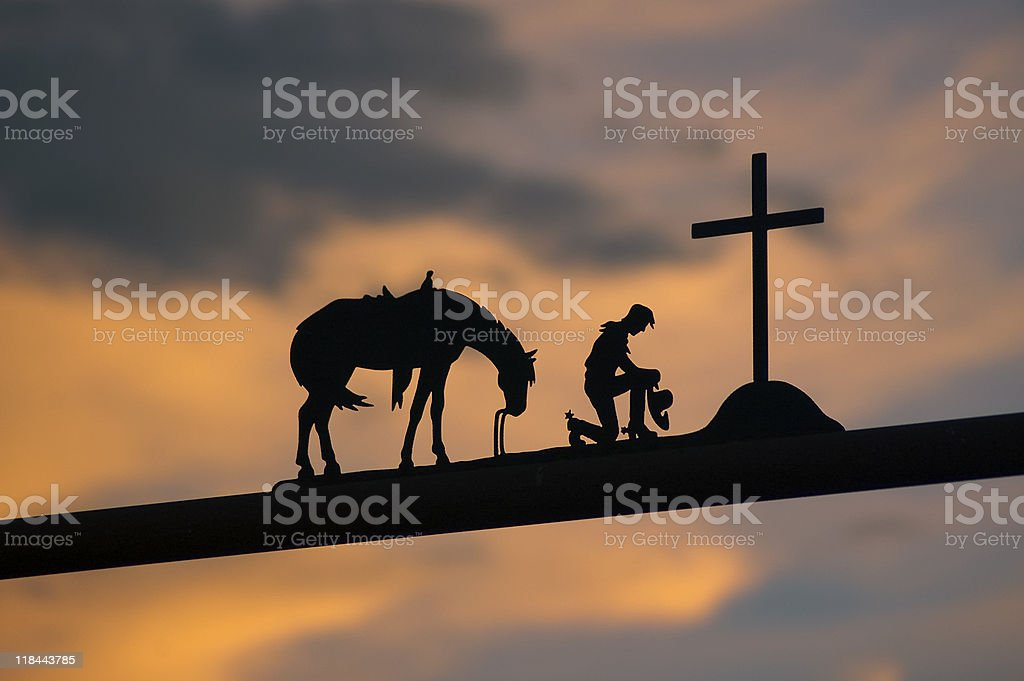 Silhouette of Entrance to Ranch, Mexico stock photo