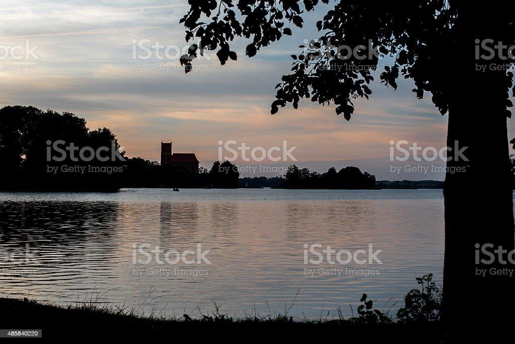 Silhouette of famous Trakai Island Castle in Lithuania stock photo
