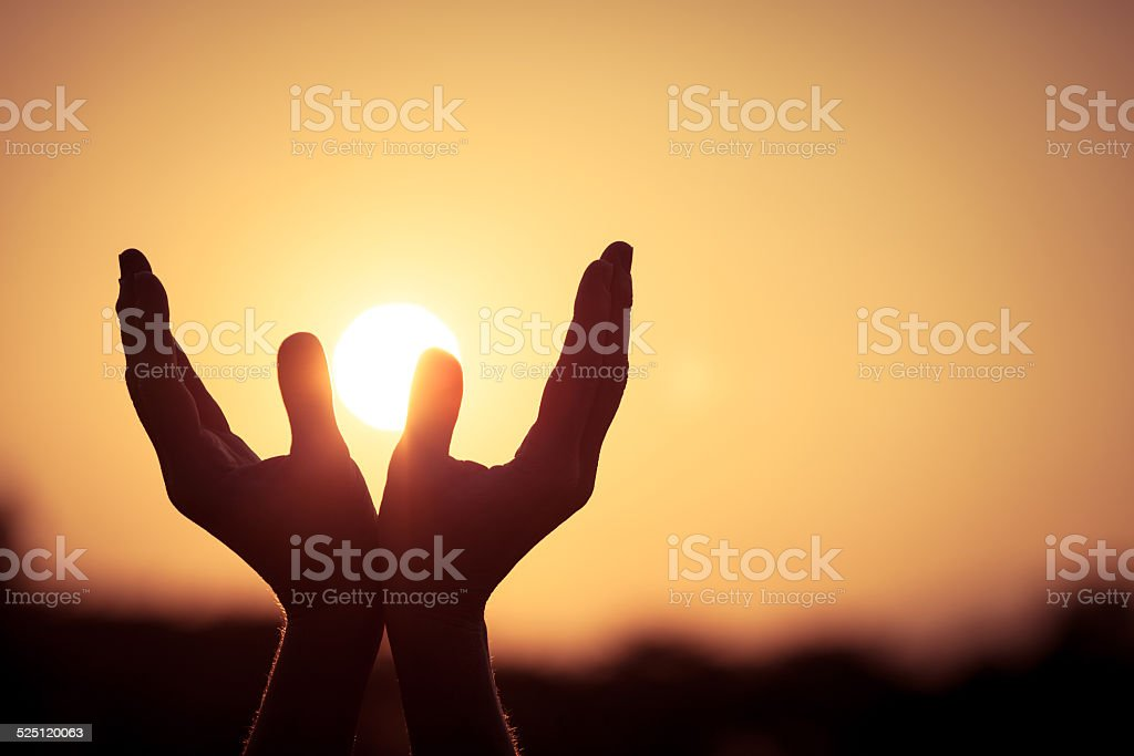 silhouette of female hands stock photo