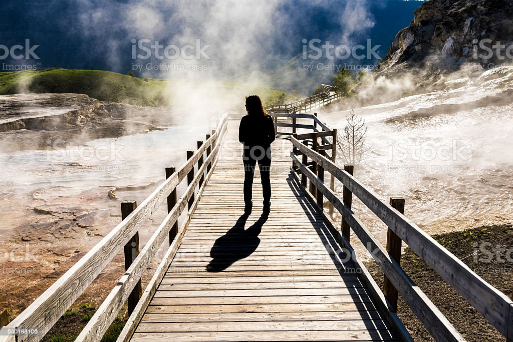 Silhouette of female standing on boardwalk with steam in Yellowstone stock photo