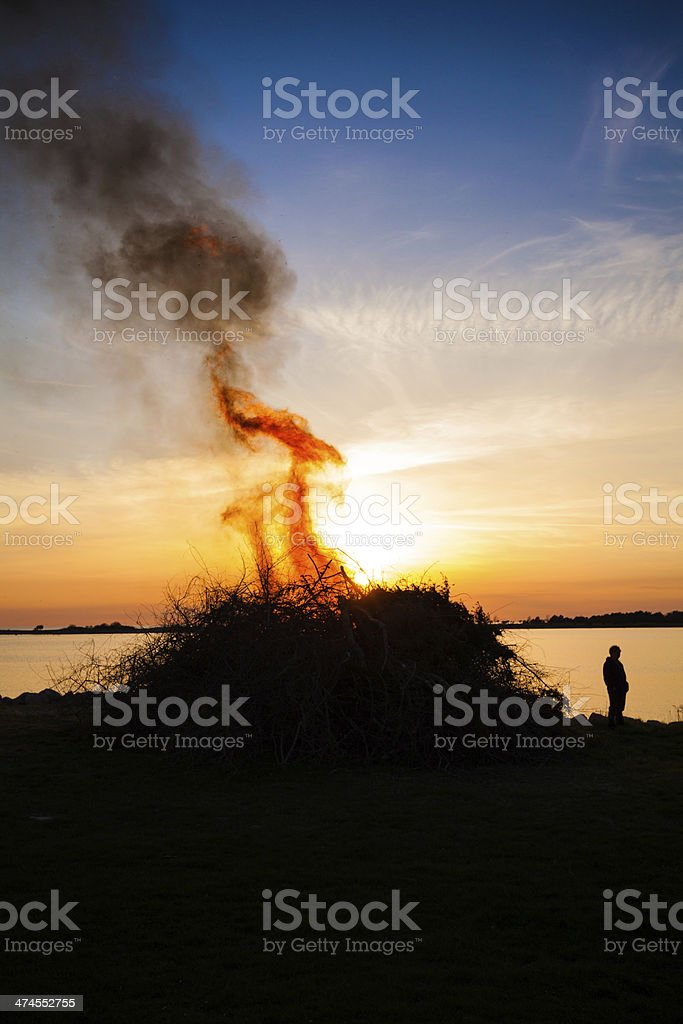 silhouette of fire stock photo