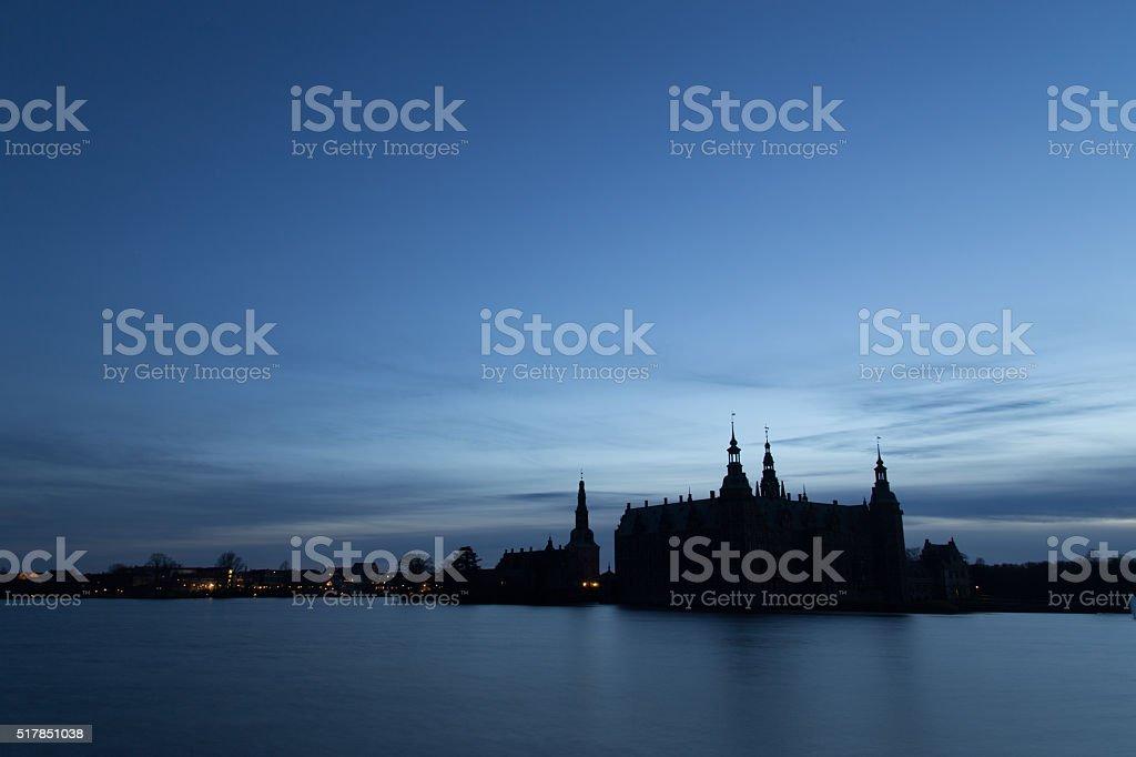 Silhouette of Frederiksborg Castle, Denmark stock photo