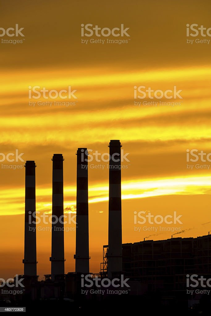 Silhouette of gas turbine electrical power plant royalty-free stock photo
