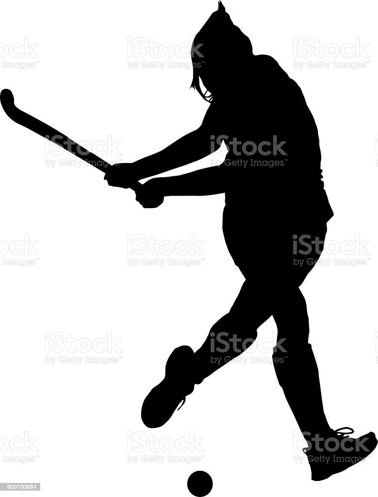 Silhouette of girl ladies hockey player hitting ball stock photo