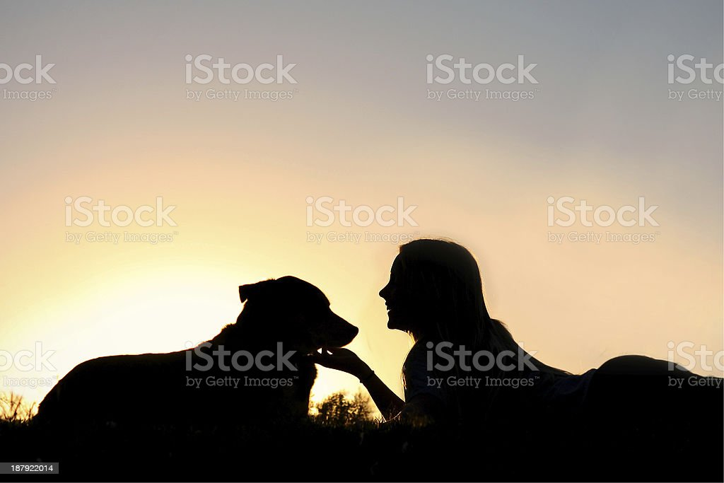 Silhouette of Girl Laying in the Grass with Her Dog stock photo