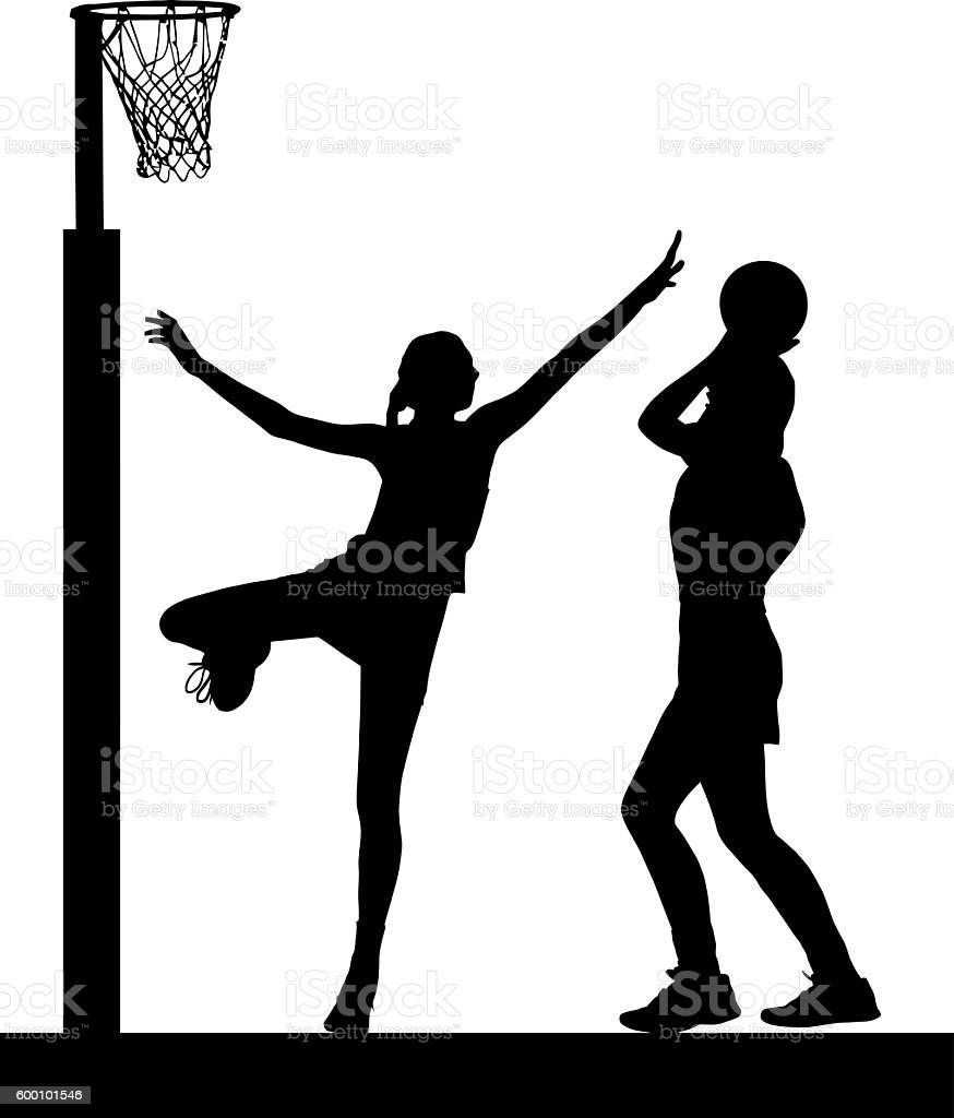 Silhouette of girls ladies netball players jumping and blocking stock photo