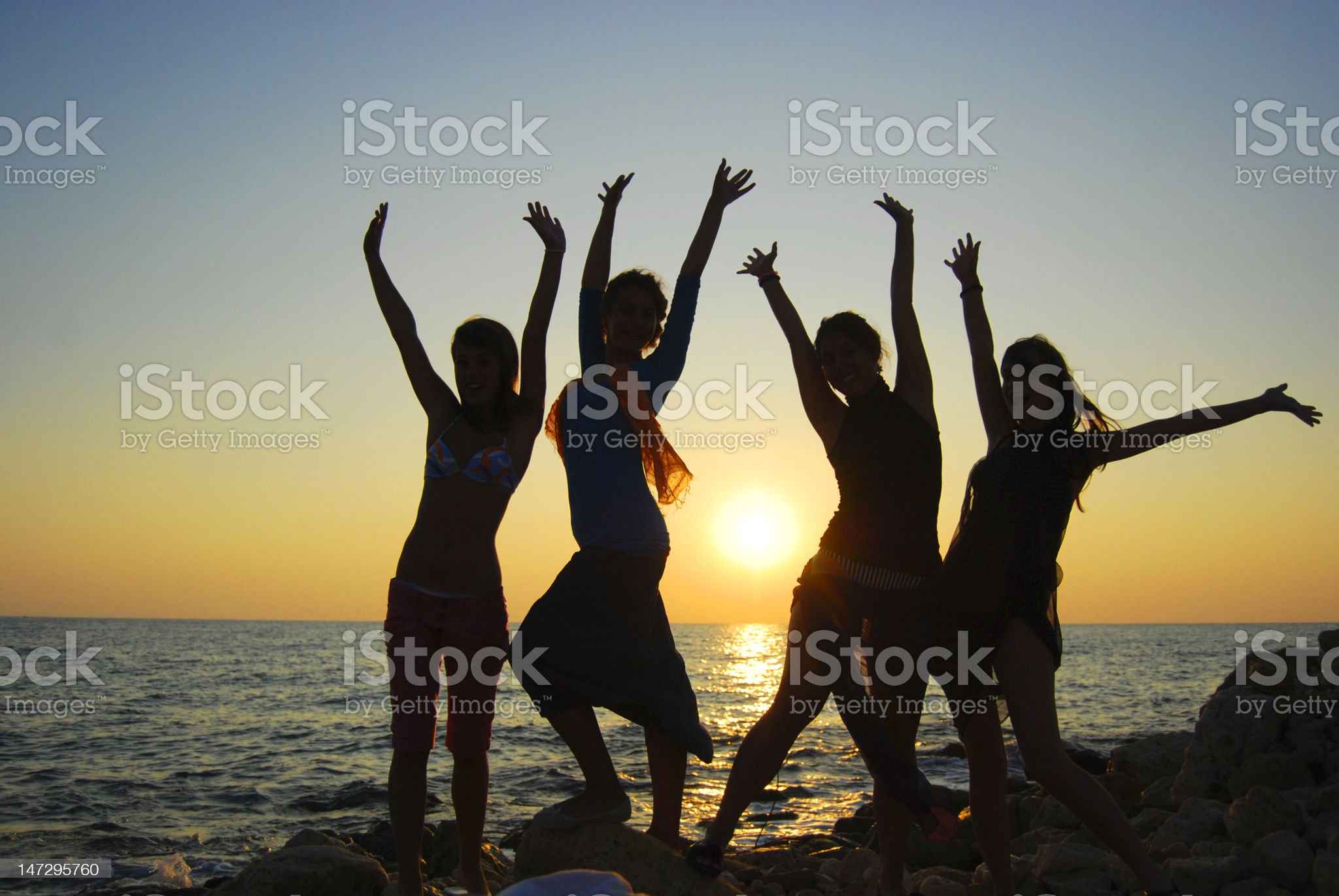 Silhouette of girls royalty-free stock photo