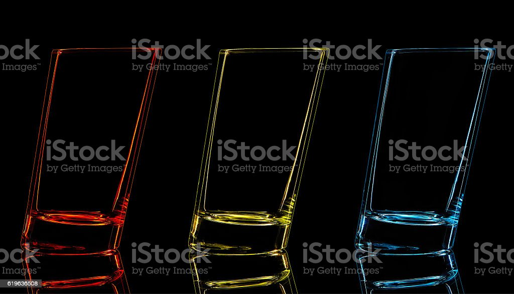 Silhouette of glass for shot on black background stock photo