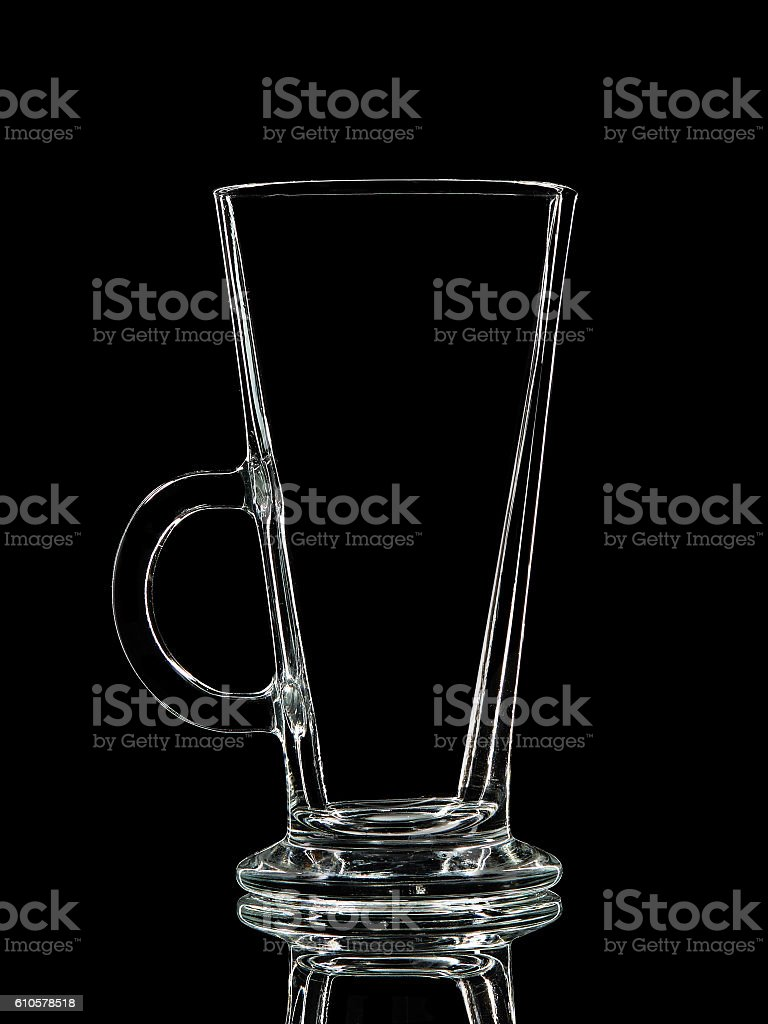 Silhouette of glass for shot with clipping path on black stock photo