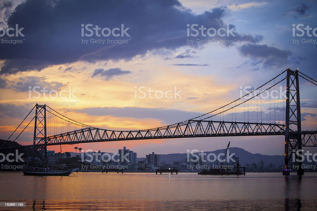 Silhouette of Golden Gate Bridge at sunset stock photo