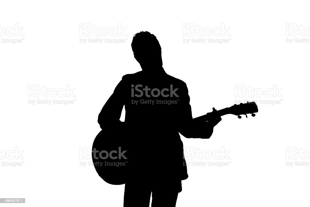 Silhouette of Guitarist On White Background royalty-free stock vector art