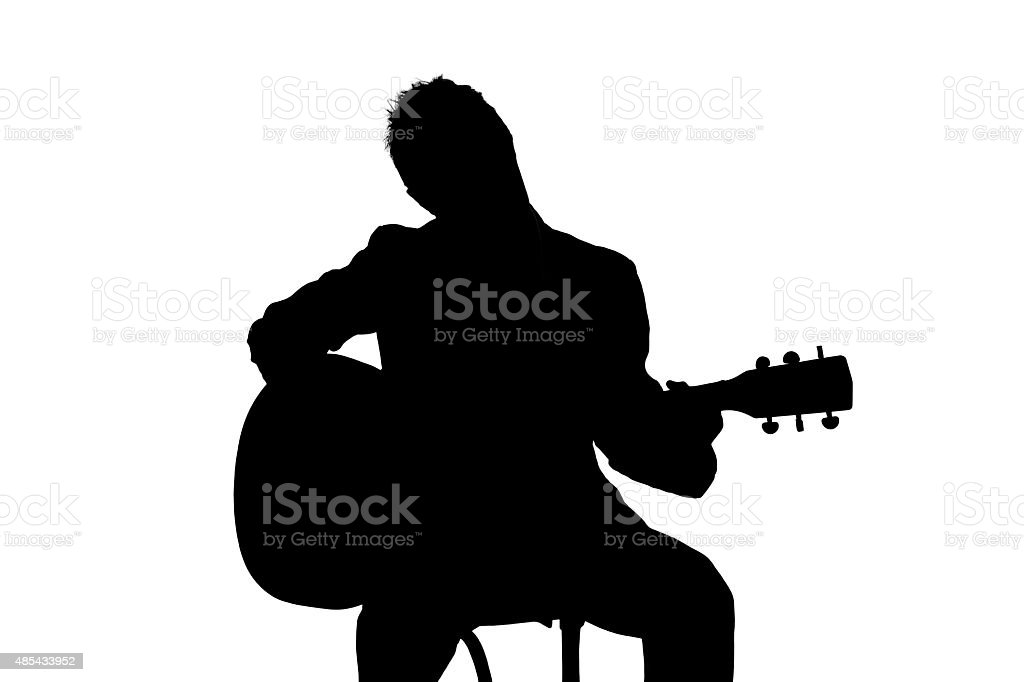 Silhouette of Guitarist royalty-free stock photo