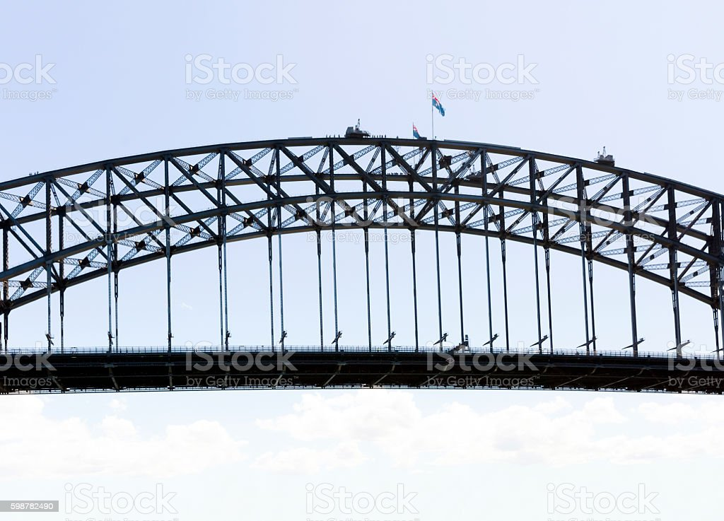 Silhouette of Harbour bridge against sky, background with copy space stock photo