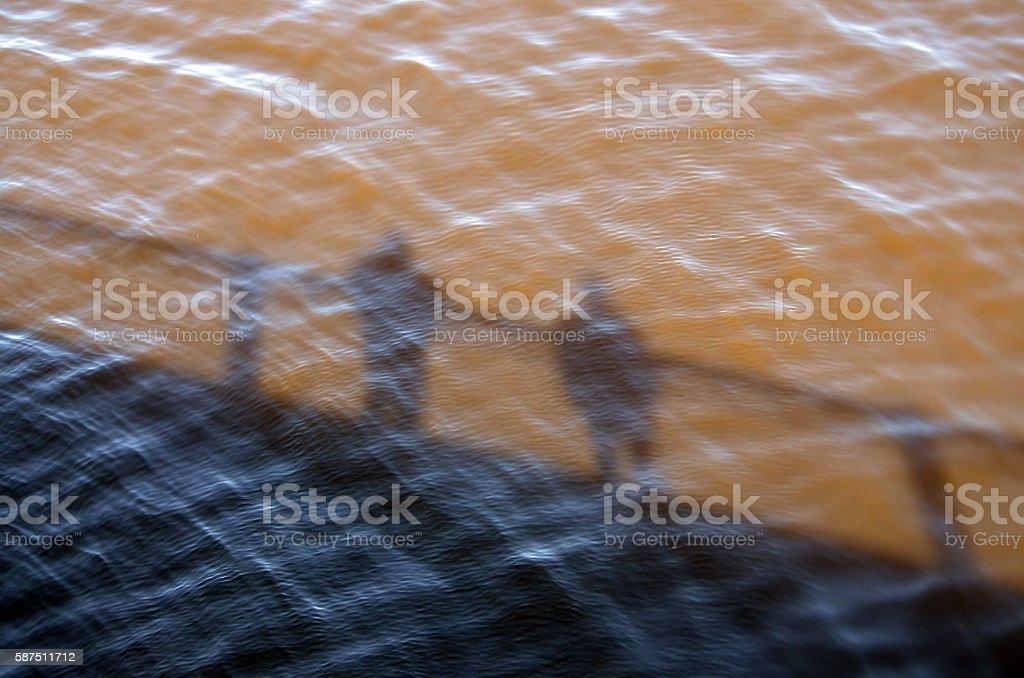 Silhouette of Harvard Bridge on Charles River, Boston stock photo