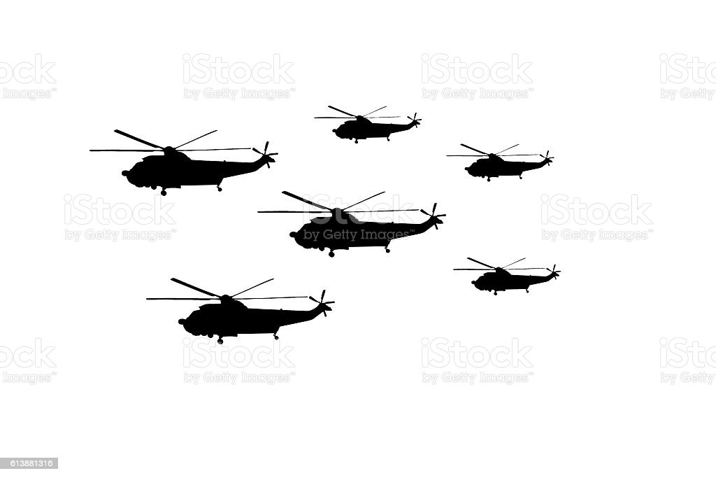 Silhouette of helicopter isolated on white background vector art illustration