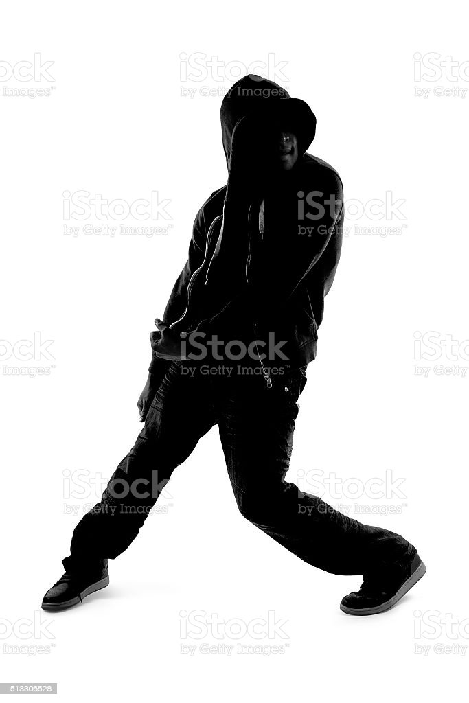 Silhouette of Hip Hop Dancer stock photo