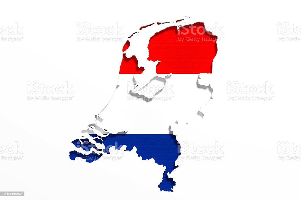 Silhouette of Holland map with flag stock photo