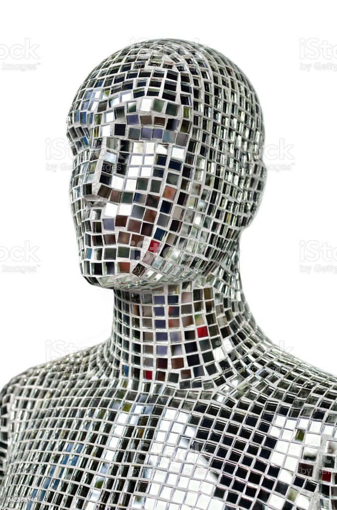 Silhouette of human body from sparkling mirror pieces stock photo
