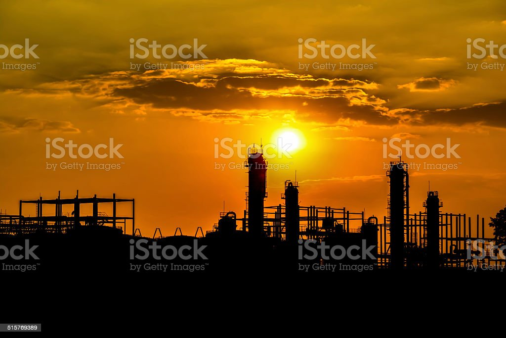 Silhouette of industrial ethanol stock photo