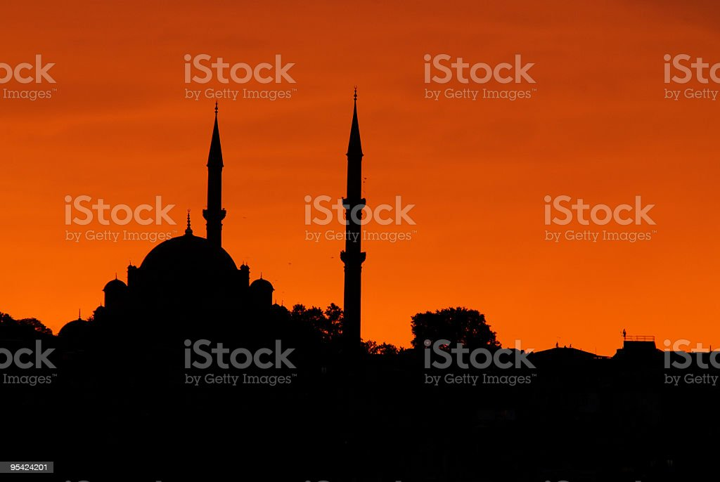 Silhouette of Istanbul's skyline at the dusk stock photo