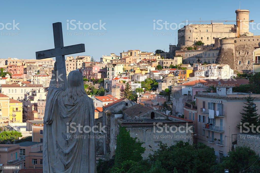 Silhouette of Jesus Christ statue, Gaeta, Italy stock photo