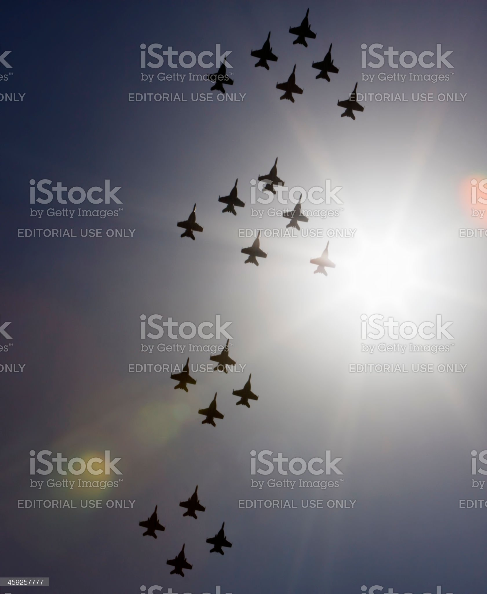 Silhouette of jets flying in formation royalty-free stock photo