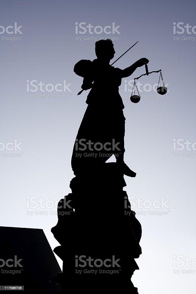 Silhouette of Justitia - Römerberg Frankfurt stock photo