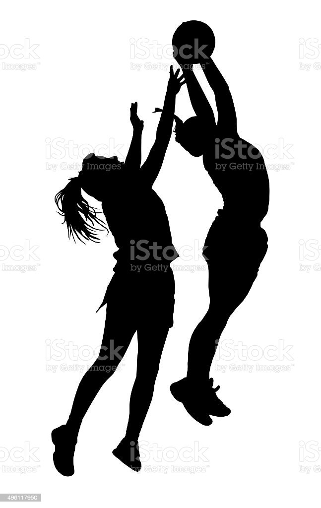 Silhouette of korfball ladies league girl players catching ball stock photo