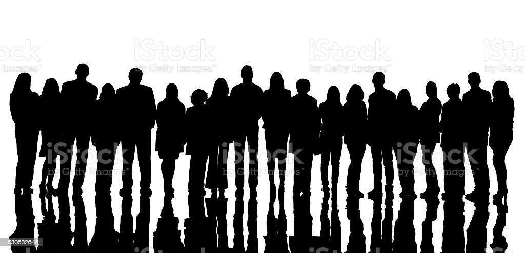 Silhouette of large group of people. stock photo