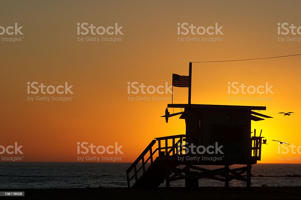 Silhouette of Lifeguard Stand on Santa Monica Beach royalty-free stock photo