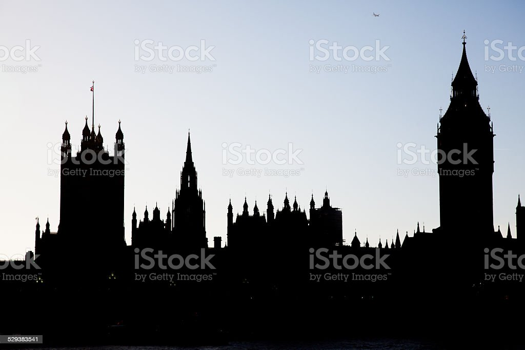 Silhouette of London Westminster and Big Ben stock photo