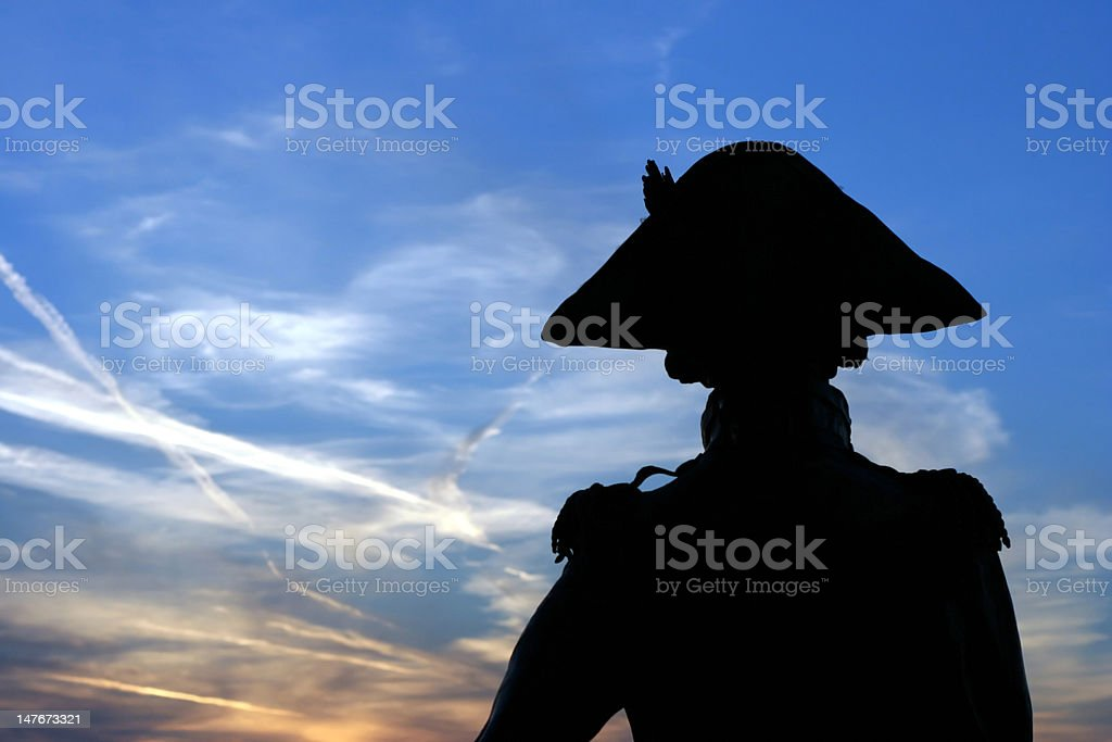 Silhouette of Lord Nelson stock photo