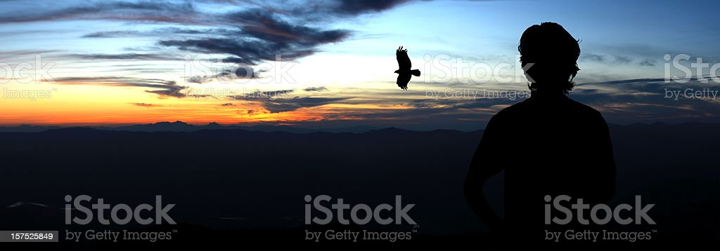 silhouette of man and eagle on top hill royalty-free stock photo