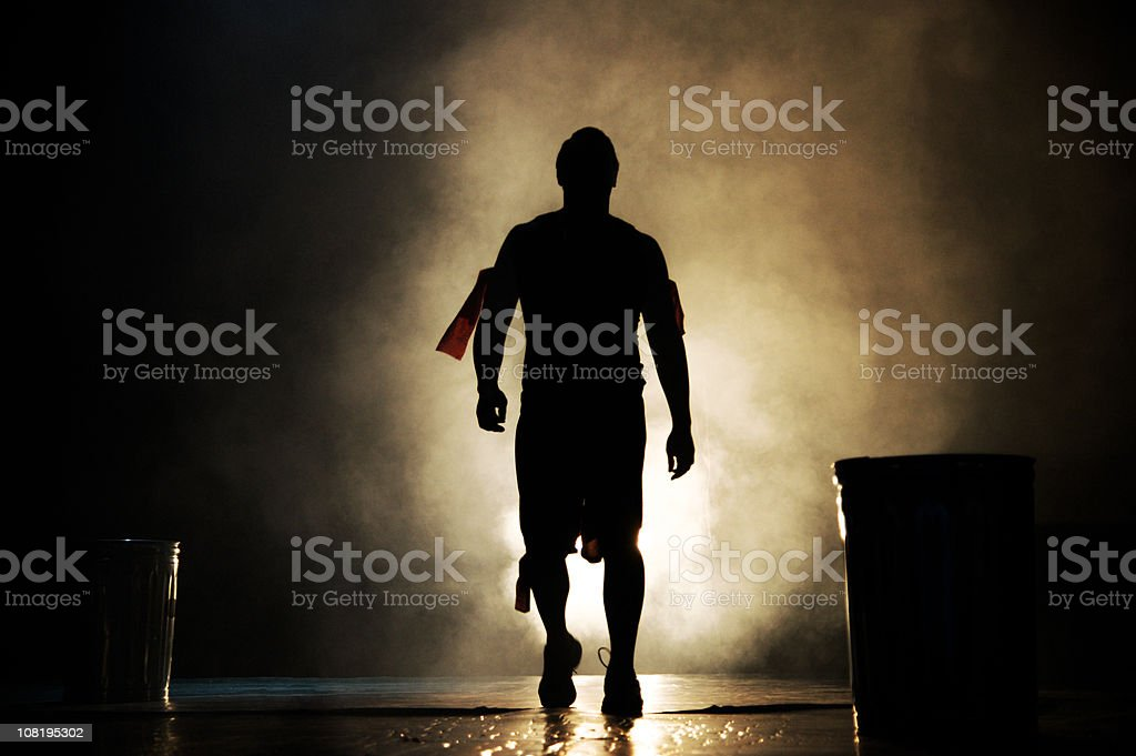 Silhouette of Man Backlit stock photo