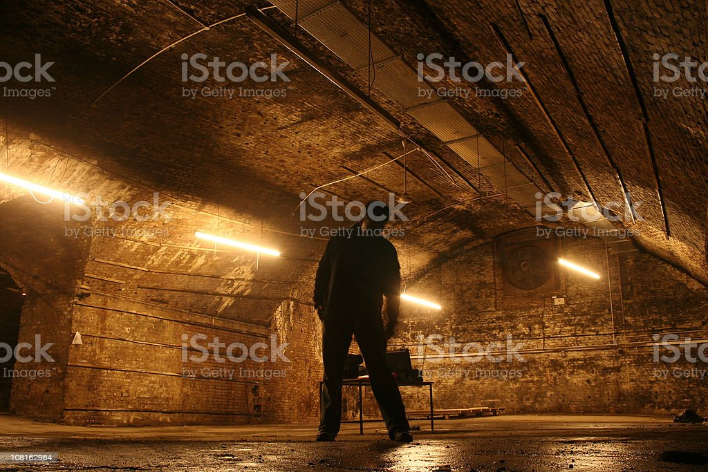 Silhouette of Man in Spooky Vaulted Brick Basement stock photo