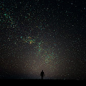 Silhouette of man looking at the stars.