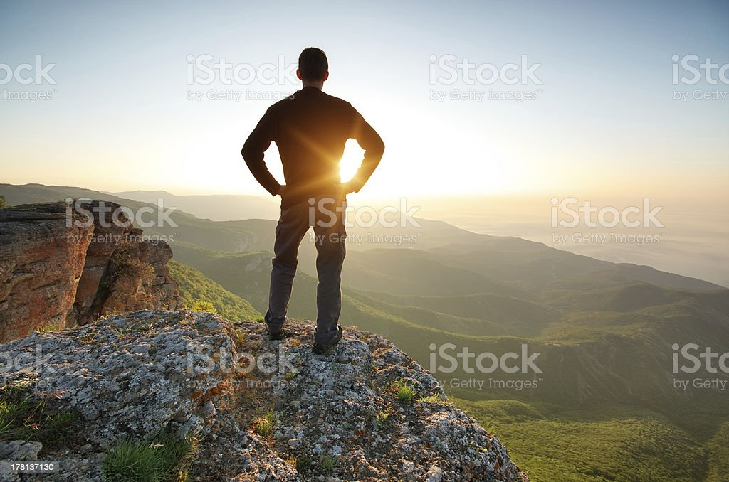 Silhouette of man stock photo