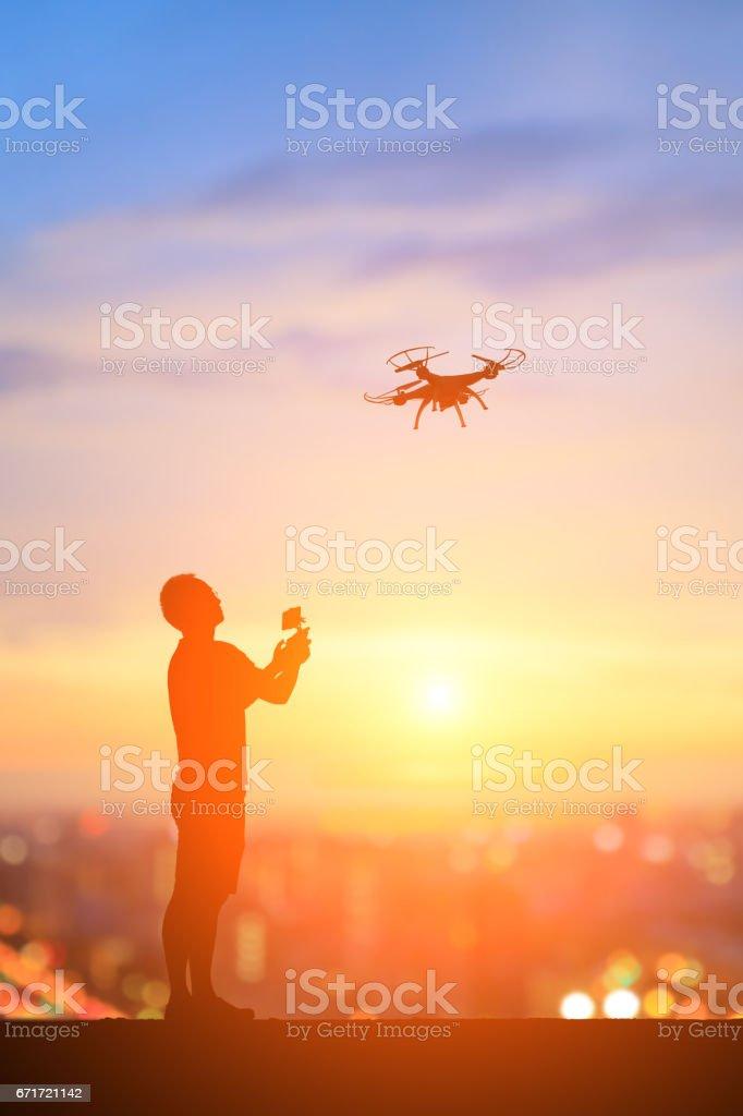 silhouette of man stock photo