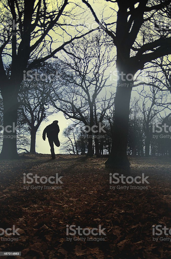 Silhouette of man running in forest. 4 royalty-free stock photo